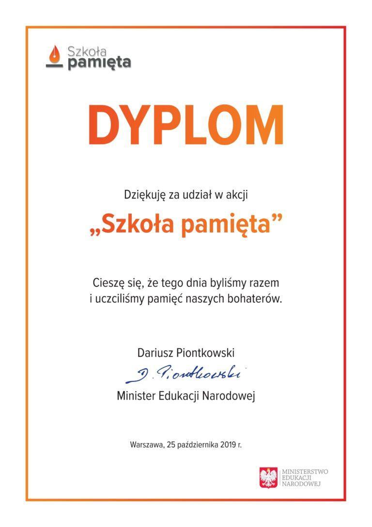"""dyplom """"Szkoła pamięta"""""""