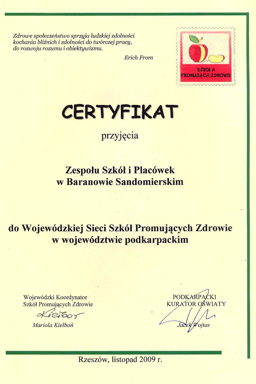 Certyfikat Szkoła Promująca Zdrowie