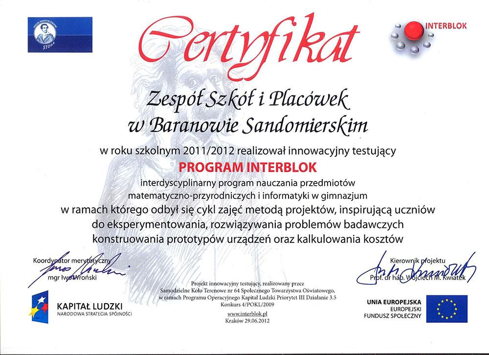 certyfikat program interblok
