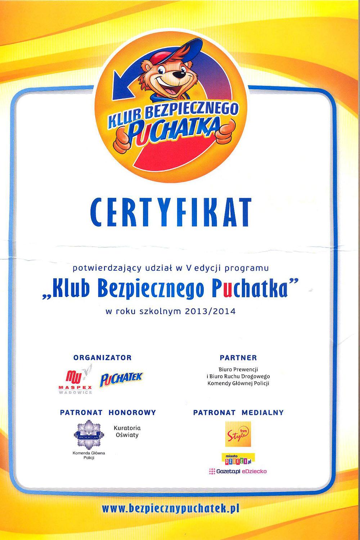 """certyfikat """"klub bezpiecznego puchatka"""""""
